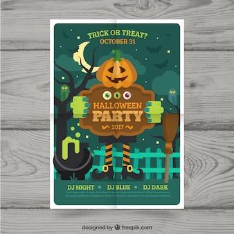 Poster de halloween com jack-o'-lantern convidando para uma festa