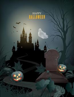 Pôster de halloween com silhueta de castelo de abóbora