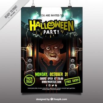 Poster de halloween com zombie assustador