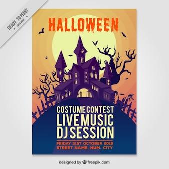 Poster de halloween da casa assombrada
