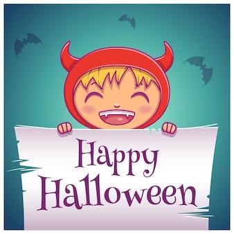 Pôster de halloween feliz com a criança fantasiada de diabo com pergaminho em fundo azul escuro. feliz festa de halloween. para cartazes, banners, folhetos, convites, cartões postais.