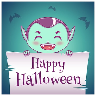 Pôster de halloween feliz com a criança fantasiada de vampiro com pergaminho em fundo azul escuro. feliz festa de halloween. para cartazes, banners, folhetos, convites, cartões postais.