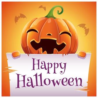 Pôster de halloween feliz com abóbora sorridente com pergaminho em fundo laranja. feliz festa de halloween. para cartazes, banners, folhetos, convites, cartões postais.