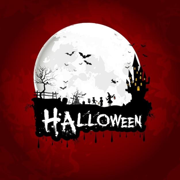 Poster de halloween na lua cheia com casa assustadora
