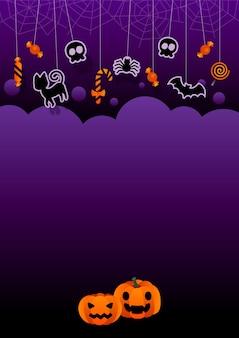 Pôster de halloween ou convite para festa com ícones planos