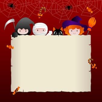 Pôster de halloween ou convite para festa com moldura quadrada e ícones planos