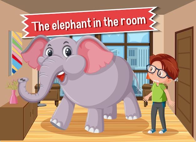 Pôster de idioma com um elefante na sala