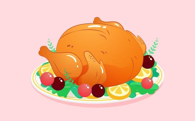 Pôster de ilustração de comida de peru no dia de ação de graças jantar quente de pratos deliciosos
