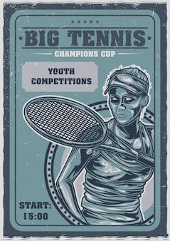 Pôster de ilustração de menina jogando tênis