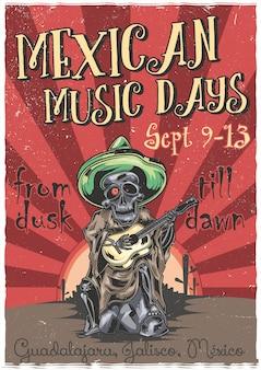 Pôster de ilustração de músico mexicano