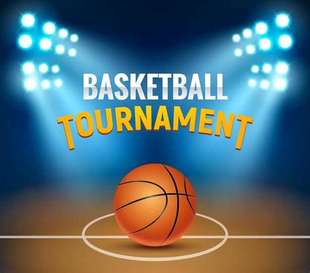 Pôster de jogo de arena de quadra de basquete torneio vetorial