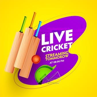 Pôster de jogo de críquete ao vivo com equipamentos realistas e vista do estádio roxo sobre fundo amarelo.