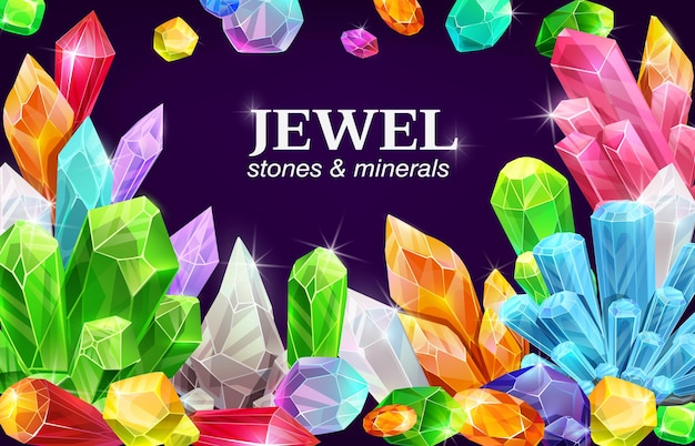 Pôster de joias brilhantes, pedras preciosas e cristais