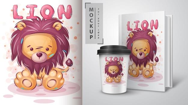 Pôster de leão de pelúcia fofo e merchandising