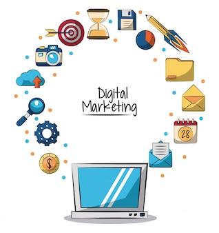 Poster de marketing digital com computador portátil em closeup e ícones de marketing ao redor dele ilustração vetorial