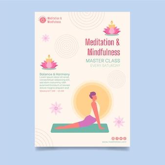 Pôster de meditação e atenção plena