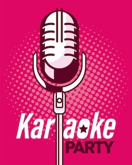 Pôster de microfone rosa de karaokê