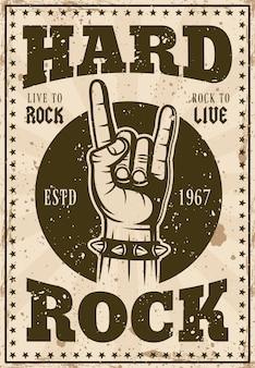 Pôster de música com manchete hard rock e chifres com ilustração de gesto de mão
