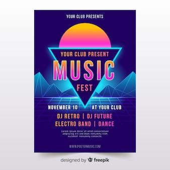 Poster de música futurista retrô colorido