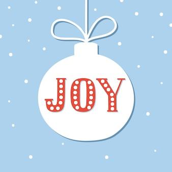 Poster de natal com rotulação de joy em forma de bugiganga.