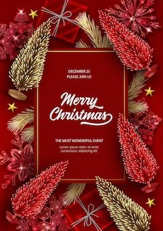 Pôster de natal e ano novo com árvores de natal artificiais vermelhas e douradas