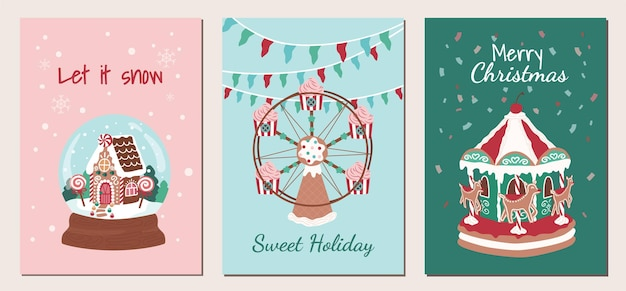 Pôster de natal natalino e doces de carnaval