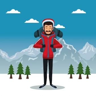 Poster de paisagem de montanha de inverno com homem escalador com equipamento