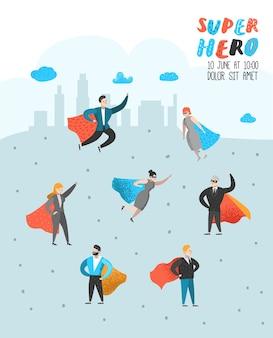 Pôster de personagens de super-heróis executivos
