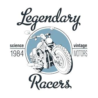 Pôster de pilotos lendários com motocicleta