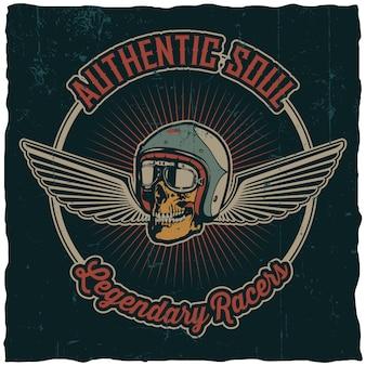 Pôster de pilotos lendários do soul autêntico com caveira no capacete e duas asas