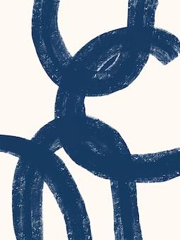 Pôster de pincelada grunge abstrato azul com forma moderna de meados do século moderno