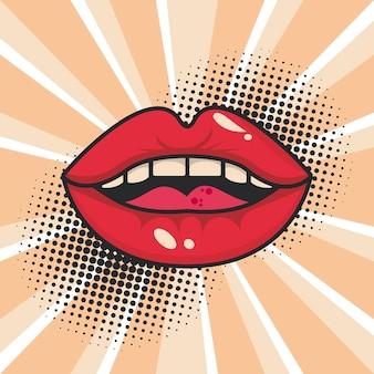 Pôster de pop art na boca