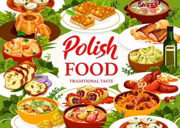Pôster de pratos e refeições em restaurante de comida polonesa