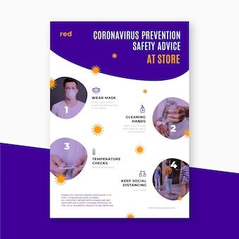 Pôster de prevenção de coronavirus para lojas