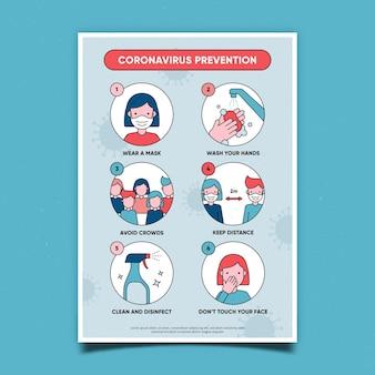 Pôster de prevenção de coronavírus
