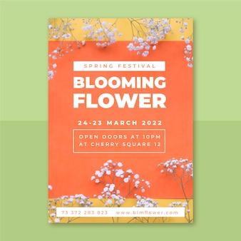 Pôster de primavera com foto e texto