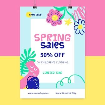 Pôster de primavera com pintura abstrata infantil