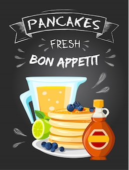 Poster de propaganda de estilo vintage de pequeno-almoço de restaurante de qualidade premium