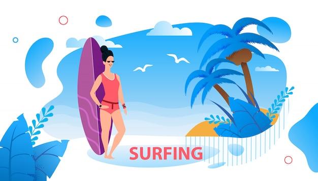 Poster de publicidade de texto surf com surfista feminino dos desenhos animados