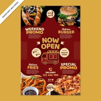 Pôster de restaurante de fast food em estilo design plano
