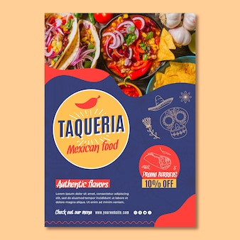 Pôster de restaurante mexicano Vetor Premium