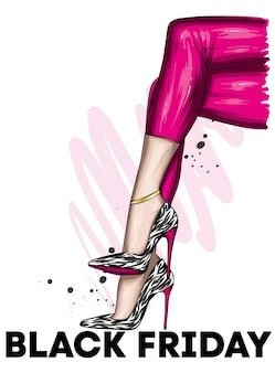 Pôster de sexta-feira negra com lindas pernas femininas em sapatos de salto alto