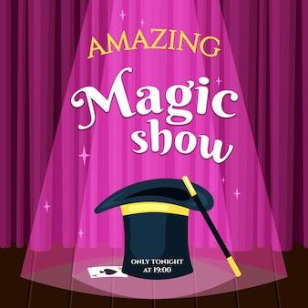 Pôster de show de mágica incrível