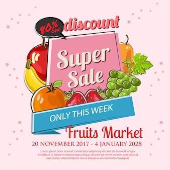 Poster de super venda de frutas em estilo doodle