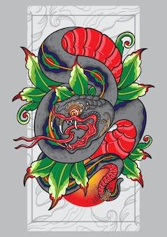 Pôster de tatuagem de cobra balinesa