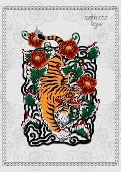 Pôster de tatuagem de tigre balinês