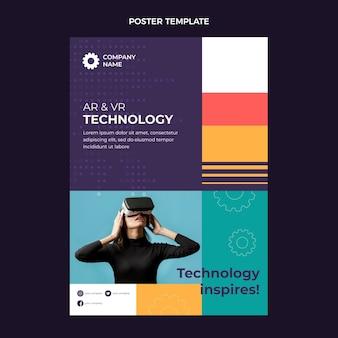 Pôster de tecnologia mínima de design plano