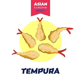 Pôster de tempura de comida japonesa desenho feito à mão prato nacional do japão camarão frito em rolos de sushi em massa