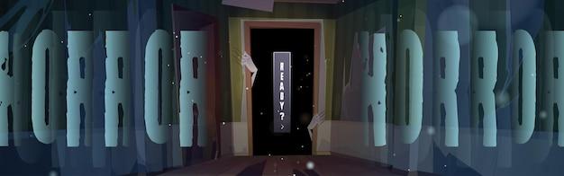 Pôster de terror com mãos de zumbis na porta escura
