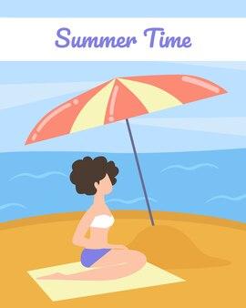 Poster de turista com palavras cartoon de horário de verão